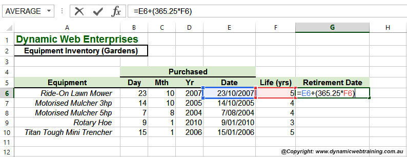 Excel Date Function - 3 - Dynamic Web Training