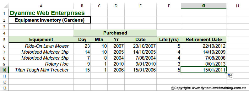 Excel Date Function - 5 - Dynamic Web Training