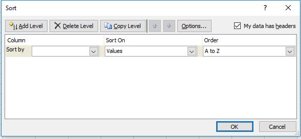 Microsoft Excel Sort By- Dynamic Web Training