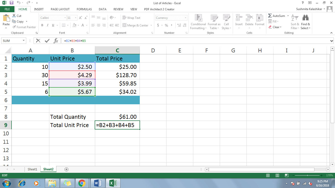 how to create a formula in excel 2016